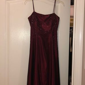 Wine beaded prom gown